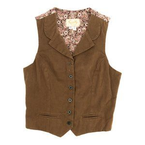 Vintage Scully Button Front Vest Paisley Brown Sml